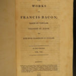 1819 RARE Complete Works Francis Bacon Natural History Science English Essays