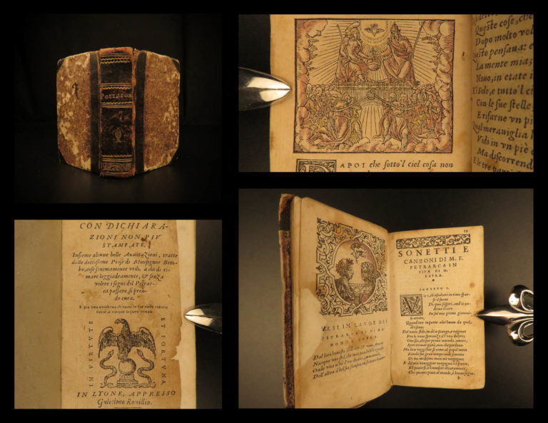 Image of 1558 Petrarch Canzoniere Italian Renaissance Poetry Petrarca Triumphs Sonnets