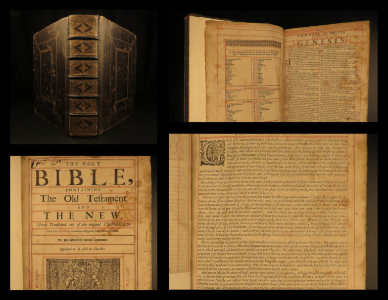 Image of 1682 EARLY Oxford Holy Bible Old/New Testament KJV Charles II England Pitt Guy