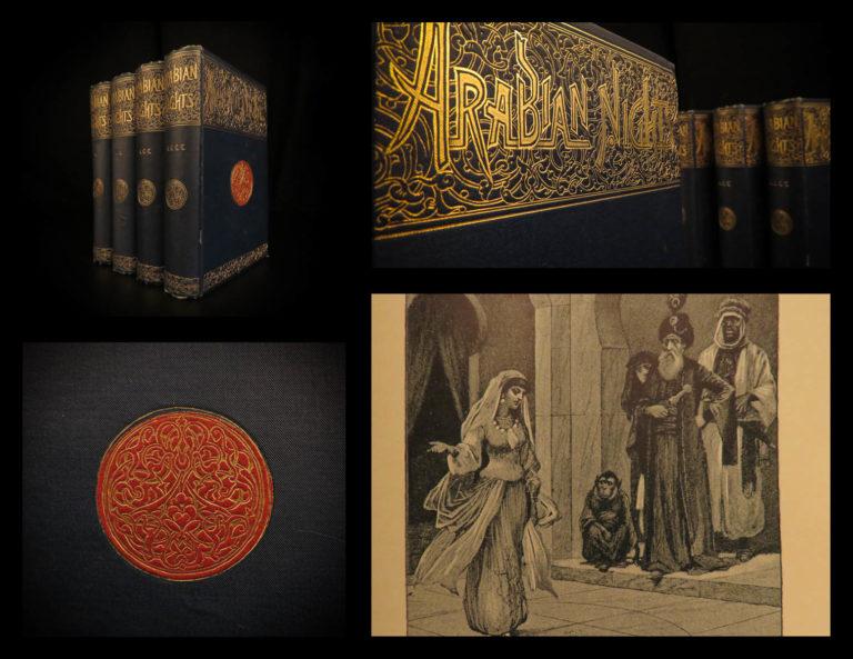 Image of 1890 Arabian Nights Entertainments Scott Illustrated Ali Baba Aladdin 4v SET