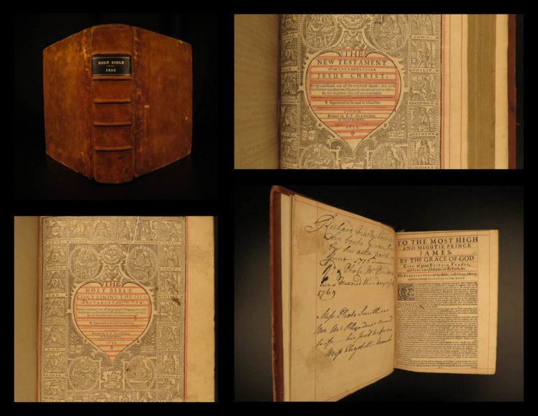 Image of 1655 PURITAN KJV Holy Bible Downame Concordance Evan Tyler English Gaywood RARE