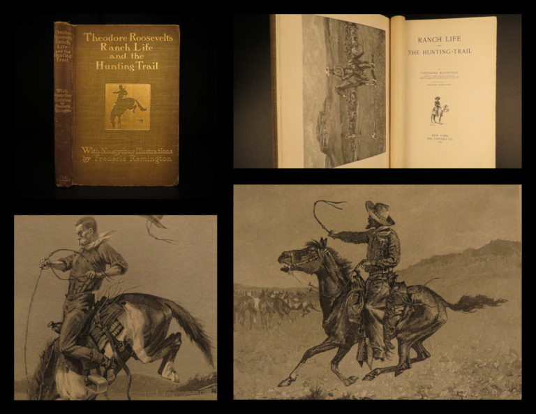 Image of 1902 Theodore Roosevelt Ranch Life & Hunting Trail Remington ART Indians America