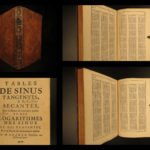 1697 Ozanam Mathematics Table de Sinus Geometry Logarithms Tangents Trigonometry