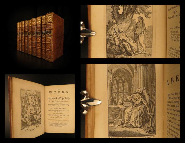 Image of 1760 Complete Works of Alexander Pope English Lit Dunciad Letters Essays 9v SET