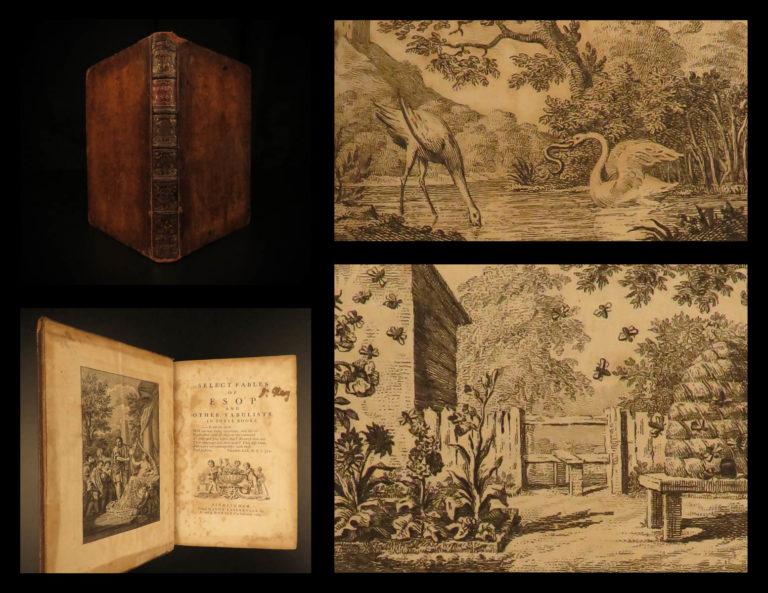 Image of 1764 Aesop's Fables Mythology English Robert Dodsley Woodcuts Meziriac FAMOUS