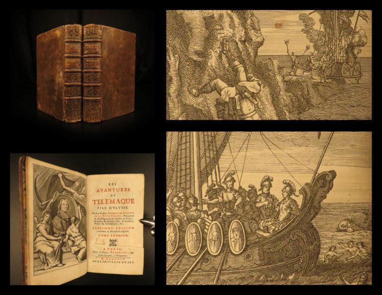 Image of 1729 Adventures of Telemachus Greek Mythology Ulysses Fenelon Illustrated 2v