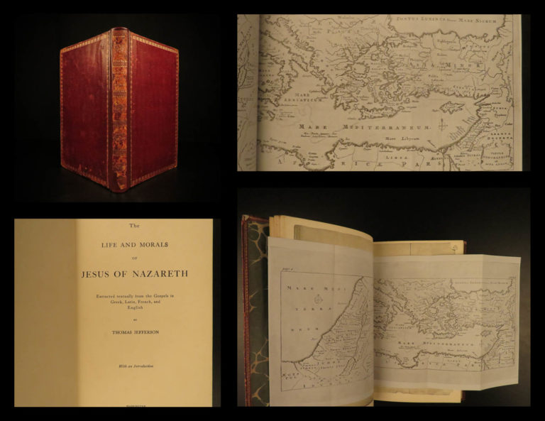 Image of 1904 Thomas Jefferson BIBLE Life of Jesus Nazareth 1st Lithograph ed Americana