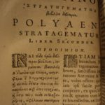 1691 Greek Polyaenus Military Stratagems in War Marcus Aurelius Macedonia / Very Rare / Parallel Greek & Latin text!